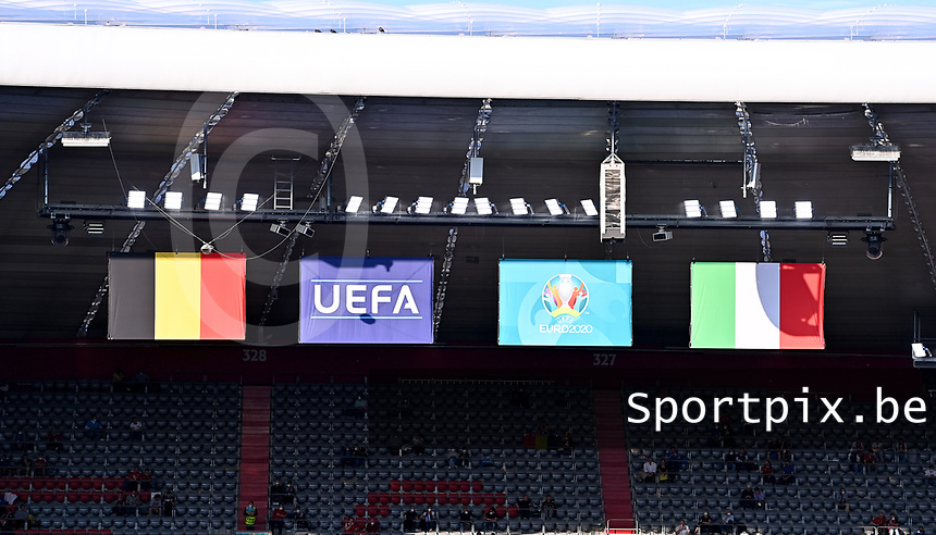 flags of Belgium , Uefa , Euro2020 and Italy pictured ahead of a soccer game during the quarter final Euro 2020 European Championship between the Belgian national soccer team Red Devils and Italy , called the Azzurri , on friday 2 nd of July 2021  in the Allianz Arena in Munchen , Germany . PHOTO SPORTPIX | SPP | DAVID CATRY