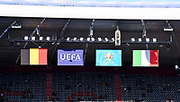 flags of Belgium , Uefa , Euro2020 and Italy pictured ahead of a soccer game during the quarter final Euro 2020 European Championship between the Belgian national soccer team Red Devils and Italy , called the Azzurri , on friday 2 nd of July 2021  in the Allianz Arena in Munchen , Germany . PHOTO SPORTPIX   SPP   DAVID CATRY