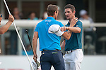 Lucas Bjerregaard of Denmark (left) and Justin Rose of England congratulate each other at the end of their game during Hong Kong Open golf tournament at the Fanling golf course on 24 October 2015 in Hong Kong, China. Photo by Xaume Olleros / Power Sport Images