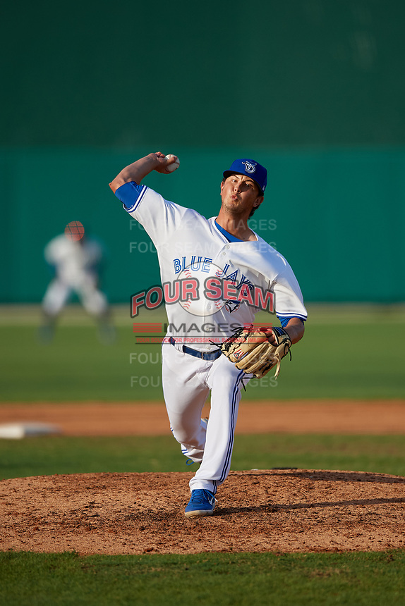 Dunedin Blue Jays relief pitcher Mike Ellenbest (13) during a Florida State League game against the Jupiter Hammerheads on May 15, 2019 at Jack Russell Memorial Stadium in Clearwater, Florida.  Jupiter defeated Dunedin 5-1 in a seven innings, the first game of a doubleheader.  (Mike Janes/Four Seam Images)