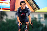 Defending Champion Egan Bernal (COL) Team Ineos Grenadiers on stage at the team presentation before the Tour de France 2020, Nice, France. 27th August 2020.<br /> Picture: ASO/Alex Broadway | Cyclefile<br /> All photos usage must carry mandatory copyright credit (© Cyclefile | ASO/Alex Broadway)