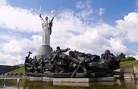 Statue of Defense of the Motherland and war monuments in Kiev, Ukraine