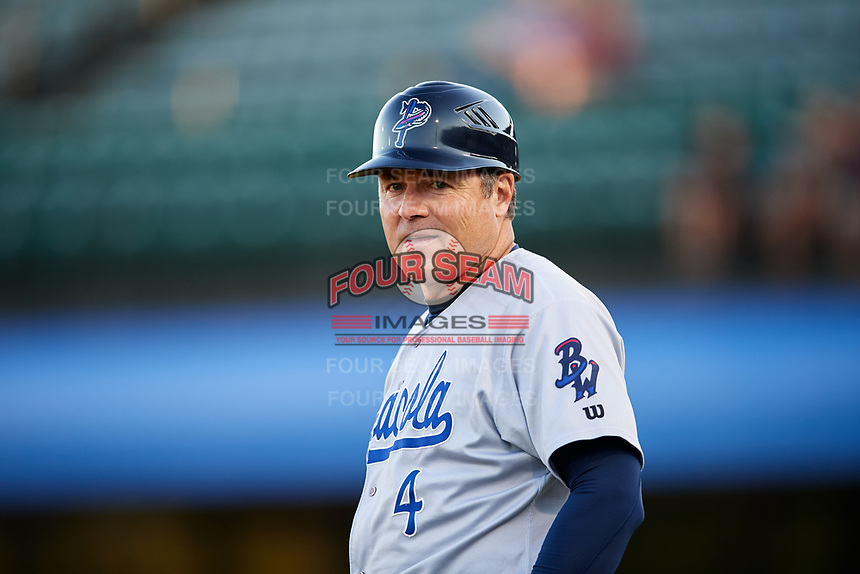 Pensacola Blue Wahoos coach Dick Schofield during a game against the Mobile BayBears on April 25, 2017 at Hank Aaron Stadium in Mobile, Alabama.  Mobile defeated Pensacola 3-0.  (Mike Janes/Four Seam Images)
