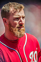 6 April 2014: Washington Nationals first baseman Adam LaRoche stands in the dugout during a game against the Atlanta Braves at Nationals Park in Washington, DC. The Nationals defeated the Braves 2-1 to salvage the last game of their 3-game series. Mandatory Credit: Ed Wolfstein Photo *** RAW (NEF) Image File Available ***