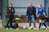 Assistant Coach Sasha Santens of Club Brugge and Head Coach Leo Van Der Elst of Club Brugge pictured during the warm up before a female soccer game between Oud Heverlee Leuven and Club Brugge YLA on the 18 th and last matchday before the play offs of the 2020 - 2021 season of Belgian Womens Super League , saturday 27 th of March 2021  in Heverlee , Belgium . PHOTO SPORTPIX.BE | SPP | SEVIL OKTEM