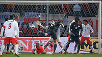 Oguchi Onyewu of the United States scores off a header. The United States defeated Poland 3-0 during an international friendly at Wisla Stadium in Krakow, Poland on March 26, 2008.