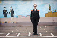 RUSSIA, Moscow, 09.2011. ©  Sergey Kozmin/EST&OST.The Moscow Girls Cadet Boarding School..Vasilisa, 13 years old, student of the Cadet Boarding School.