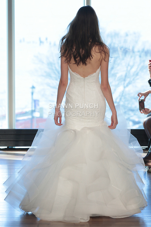"""Model Tess walks runway in a """"Dolly"""" bridal gown from the Rivini Spring Summer 2017 bridal collection by Rita Vinieris at The Standard Highline Room, during New York Bridal Fashion Week on April 15, 2016."""