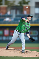 Gwinnett Braves starting pitcher Patrick Weigel (50) delivers a pitch to the plate against the Charlotte Knights at BB&T BallPark on July 14, 2019 in Charlotte, North Carolina.  The Stripers defeated the Knights 5-4. (Brian Westerholt/Four Seam Images)
