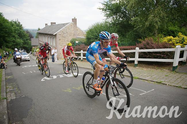 Tim De Troyer (BEL/Wanty-GroupeGobert) leading the race up the Mur de Huy<br /> <br /> 2014 Belgium Tour<br /> (final) stage 5: Oreye - Oreye (179km)