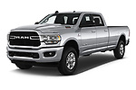 2019 Ram 3500 Big Horn 4 Door Pick Up angular front stock photos of front three quarter view
