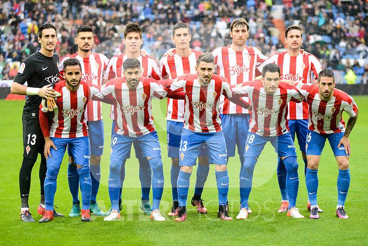 Sporting de Gijon's players during match of La Liga between Real Madrid and Sporting de Gijon at Santiago Bernabeu Stadium in Madrid, Spain. November 26, 2016. (ALTERPHOTOS/BorjaB.Hojas)