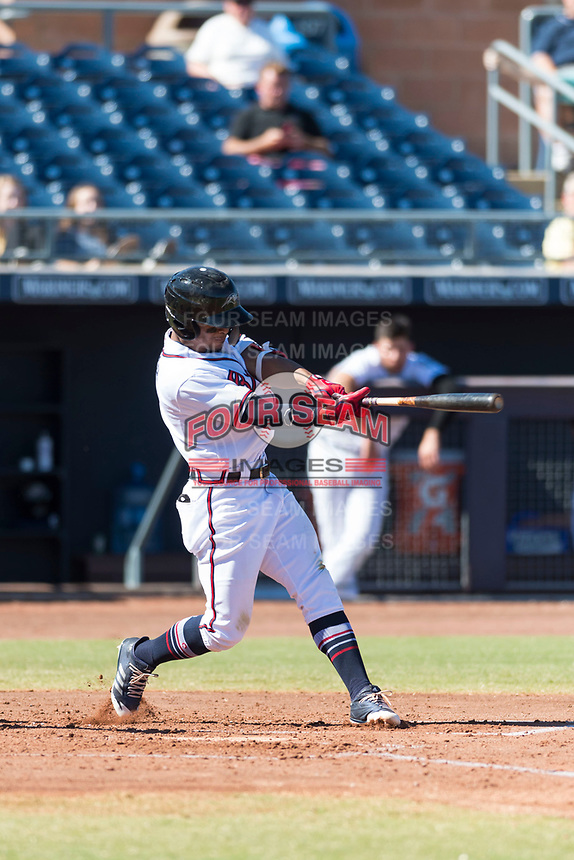 Peoria Javelinas second baseman Ray-Patrick Didder (1), of the Atlanta Braves organization, swings at a pitch during an Arizona Fall League game against the Scottsdale Scorpions at Peoria Sports Complex on October 18, 2018 in Peoria, Arizona. Scottsdale defeated Peoria 8-0. (Zachary Lucy/Four Seam Images)
