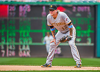 21 June 2015: Pittsburgh Pirates first baseman Corey Hart in action against the Washington Nationals at Nationals Park in Washington, DC. The Nationals defeated the Pirates 9-2 to sweep their 3-game weekend series, and improve their record to 37-33. Mandatory Credit: Ed Wolfstein Photo *** RAW (NEF) Image File Available ***