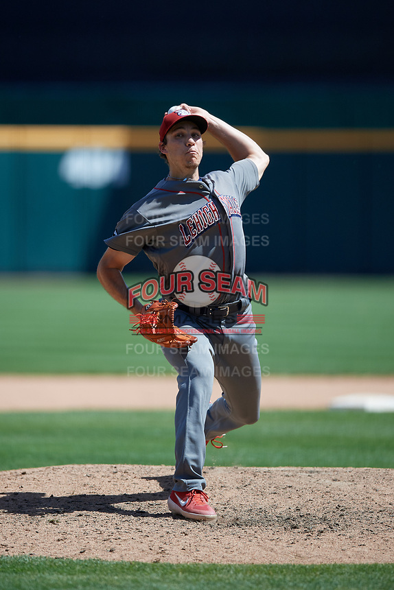 Lehigh Valley IronPigs relief pitcher Tom Windle (27) during an International League game against the Buffalo Bisons on June 9, 2019 at Sahlen Field in Buffalo, New York.  Lehigh Valley defeated Buffalo 7-6 in 11 innings.  (Mike Janes/Four Seam Images)