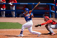 New York Mets David Rodríguez (74) bats during a Major League Spring Training game against the St. Louis Cardinals on March 19, 2021 at Clover Park in St. Lucie, Florida.  (Mike Janes/Four Seam Images)