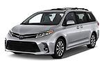 2020 Toyota Sienna Limited FWD 5 Door Mini Van angular front stock photos of front three quarter view