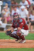 Boston College Eagles catcher Jake Goodreau (32) looks to the dugout during a game against the Minnesota Golden Gophers on February 23, 2018 at North Charlotte Regional Park in Port Charlotte, Florida.  Minnesota defeated Boston College 14-1.  (Mike Janes/Four Seam Images)