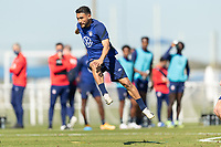 BRADENTON, FL - JANUARY 19: Cristian Roldan  shoots the ball during a training session at IMG Academy on January 19, 2021 in Bradenton, Florida.