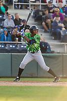 Eugene Emeralds outfielder Eloy Jimenez (18) at bat during a game against the Everett Aquasox at Everett Memorial Stadium in Everett, Washington.  Eugene defeated Everett 7-5. (Ronnie Allen/Four Seam Images)