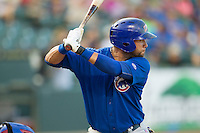Iowa Cubs catcher JC Boscan (15) at bat against the Round Rock Express in the Pacific Coast League baseball game on July 21, 2013 at the Dell Diamond in Round Rock, Texas. Round Rock defeated Iowa 3-0. (Andrew Woolley/Four Seam Images)
