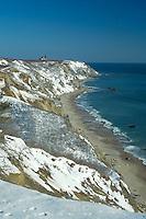 Snow coats the bluffs at Southeast Light Block Island