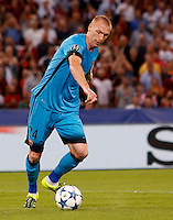 Calcio, Champions League, Gruppo E: Roma vs Barcellona. Roma, stadio Olimpico, 16 settembre 2015.<br /> FC Barcelona's Jeremy Mathieu in action during a Champions League, Group E football match between Roma and FC Barcelona, at Rome's Olympic stadium, 16 September 2015.<br /> UPDATE IMAGES PRESS/Riccardo De Luca<br /> <br /> *** ITALY AND GERMANY OUT ***