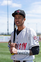 Wisconsin Timber Rattlers infielder Yeison Coca (1) poses for a photo before a Midwest League game against the Great Lakes Loons at Dow Diamond on May 4, 2019 in Midland, Michigan. (Zachary Lucy/Four Seam Images)