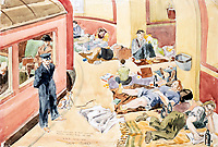 BNPS.co.uk (01202 558833)Pic: DominicWinter/BNPS<br /> <br /> Oct 1940 - 'Tube station at midnight during the Blitz'.<br /> <br /> Unseen harrowing drawings which vividly capture the horrors of the Blitz during World War Two have come to light 78 years later.<br /> <br /> Artist Ivor Beddoes began the war as an actor in the West End but quit to become a stretcher bearer as the German bombs rained down on London.<br /> <br /> He made sketches on the spot and then added watercolours later, documenting in graphic detail the devastation caused.<br /> <br /> Beddoes' drawings show bodies strewn on the blood soaked ground as the Luftwaffe did their worst. Others reveal frantic searches for survivors in the rubble of decimated buildings.<br /> <br /> The drawings have emerged for sale with auction house Dominic Winter, of Cirencester, Gloucs. They are expected to fetch £5,000.