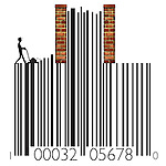 Barcode representating the concept of rising price