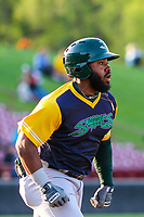 Beloit Snappers outfielder Logan Farrar (11) races to first base during a Midwest League game against the Wisconsin Timber Rattlers on May 17, 2018 at Fox Cities Stadium in Appleton, Wisconsin. Beloit defeated Wisconsin 8-7. (Brad Krause/Four Seam Images)