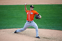 Norfolk Tides relief pitcher Scott McGough (23) during a game against the Rochester Red Wings on July 17, 2016 at Frontier Field in Rochester, New York.  Rochester defeated Norfolk 3-2.  (Mike Janes/Four Seam Images)