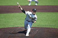 Vanderbilt Commodores starting pitcher Jack Leiter (22) delivers a pitch to the plate against the South Carolina Gamecocks at Hawkins Field on March 20, 2021 in Nashville, Tennessee. Leiter pitched a no-hitter, striking out 16 batters in the 5-0 victory. (Brian Westerholt/Four Seam Images)