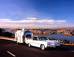 A 1965 Airstream Caravel and a 1965 Chevrolet Malibu are owned by Norm and Ann Markus. Photographed in Crockett, California