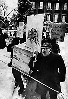 FILE - Protests against Montreal mayor Jean Drapeau, December 18, 1974
