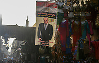 EGYPT, Cairo, bazaar Khan el-Khalili in old town, banner of president and army general Abdel Fatah El-Sisi / AEGYPTEN, Kairo, Basar Khan el-Khalili