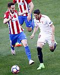 Atletico de Madrid's Saul Niguez (l) and Sevilla FC's Sergio Escudero during La Liga match. March 19,2017. (ALTERPHOTOS/Acero)