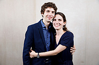 Contestants Marcel Cara of France and Klara Woskowiak of Poland pose at a photo booth during the opening reception and dinner of the 11th USA International Harp Competition at Indiana University in Bloomington, Indiana on Wednesday, July 3, 2019. (Photo by James Brosher)