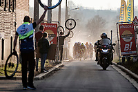 peloton over the final cobbled section with 3km to go<br /> <br /> 53rd Le Samyn 2021<br /> ME (1.1)<br /> 1 day race from Quaregnon to Dour (BEL/205km)<br /> <br /> ©kramon