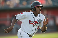 Lansing Lugnuts designated hitter Vladimir Guerrero Jr. (27) runs to first base during the Midwest League baseball game against the Bowling Green Hot Rods on June 29, 2017 at Cooley Law School Stadium in Lansing, Michigan. Bowling Green defeated Lansing 11-9 in 10 innings. (Andrew Woolley/Four Seam Images)