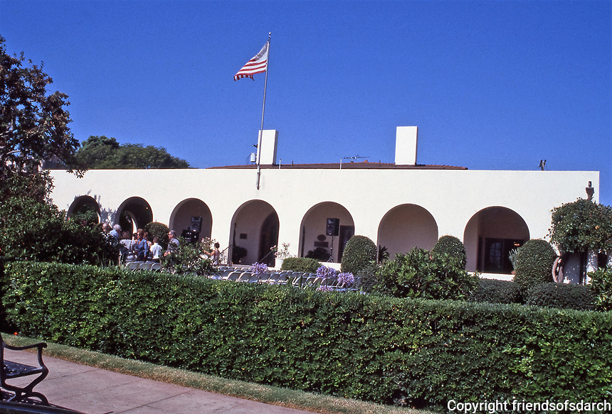 Irving Gill: La Jolla Woman's Club, 1913.  Donated by Ellen Browning Scripps. Modern style with arches and little ornamentation. Gill used tilt-wall construction. Photo Oct. 1999.