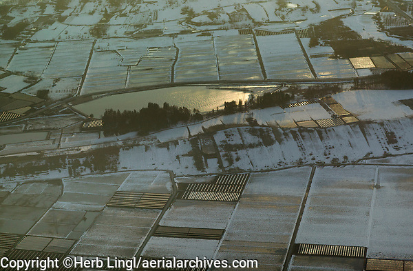 aerial photograph of snow covered farming fields in Yamagata, northern Honshu, Japan, 本州北部、山形の雪に覆われた農地の航空写真
