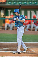Jon Littell (48) of the Ogden Raptors bats against the Orem Owlz at Lindquist Field on August 3, 2018 in Ogden, Utah. The Raptors defeated the Owlz 9-4. (Stephen Smith/Four Seam Images)