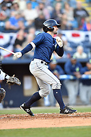 Columbia Fireflies center fielder Quinn Brodey (2) swings at a pitch during a game against the Asheville Tourists at McCormick Field on April 13, 2018 in Asheville, North Carolina. The Tourists defeated the Fireflies 5-1. (Tony Farlow/Four Seam Images)