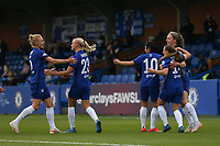 2nd May 2021; Kingsmeadow, London, England; Chelsea celebrate the first goal in the semi final during the UEFA Womens Champions League Semi Final game between Chelsea and Bayern Munich at Kingsmeadow