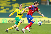 20th March 2021; Carrow Road, Norwich, Norfolk, England, English Football League Championship Football, Norwich versus Blackburn Rovers; Sam Gallagher of Blackburn Rovers is under pressure from Jacob Lungi Sorensen of Norwich City