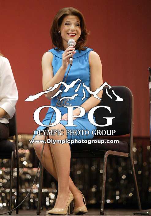 12 July, 2008:    Miss Auburn Cara Rudd answers her question to the judges in the on-stage interview competition on stage during the 2008 Miss Washington pageant at the Pantages Theater in Tacoma , Washington.