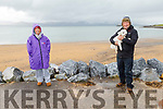 Caroline Corkery with Eddie Stack and his dog Bawnie enjoying their stroll in Fenit on Saturday morning
