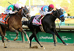 May 01,, 2021:  #8 Medina Spirit and jockey John Velazquez (red cap) win the 147th Kentucky Derby for trainer Bob Baffert and owner Zedan Racing Stables, edging out #7 Mandaloun and jockey Florent Geroux at Churchill Downs.  Louisville, KY on May 01, 2021.  Candice Chavez/ESW/CSM