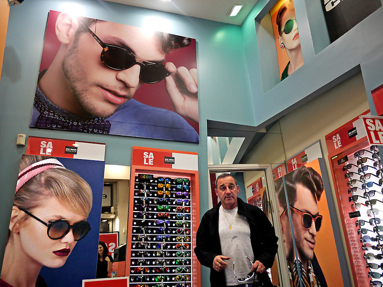 Trendy sunglass shop caters to the hip and the average in the old city, underscoring the paradoxical nature of Israel, Jerusalem